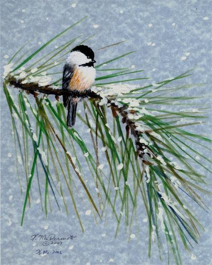 Snow Chickadees by Kathleen McDermott